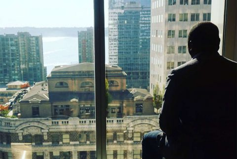 An international visitor views the Manhattan sky from Cultural Vistas' offices in NYC.